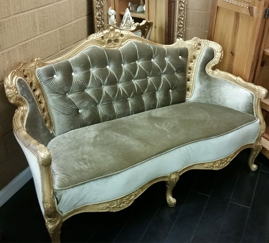 Light Green Victorian Couch Rental Furniture Rentals Los Angeles Encino Calabasas Orange County San Fernando Valley Event Rentals Wedding Rentals Party Rentals