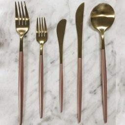 Brushed Gold & Blush Flatware Collection