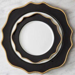 Trieste Dinnerware Collection- Black/Gold