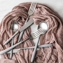 Brushed Silver & Grey Flatware Collection
