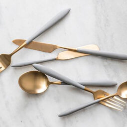 Brushed Gold & Grey Flatware Collection