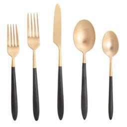Brushed Gold & Black Flatware Collection