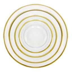 Onyx Rim Glass Gold Dinnerware Collection