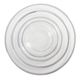 Onyx Rim Glass Silver Dinnerware Collection